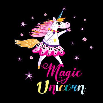 Vector illustration of a cheerful unicorn