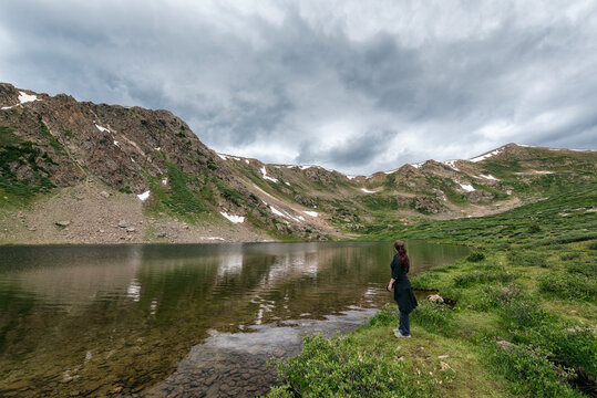 Women standing at the shore of Linkins Lake, Colorado