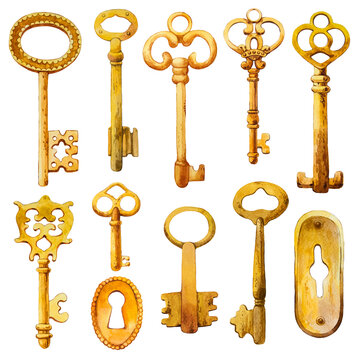 Watercolor set of hand-drawn antique copper, gold, iron keys and keyhole. Illustration in picturesque style on white background. Old objects design.