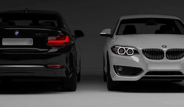 Rostock, Germany - November 09, 2020: Black and white  BMW 220d cgi render illustration, rear and front view of the car