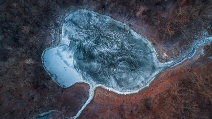 Frozen lake in the middle of the forest