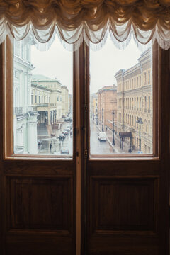 A View through the french doors on a winter day. Saint Petersburg. Russia.