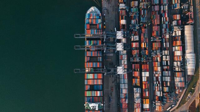 Mexican port in Manzanillo - large ocean cargo ship near the dock