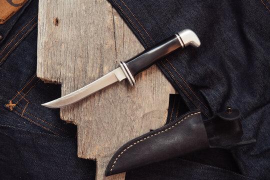 Vintage skinner knife on a piece of wood