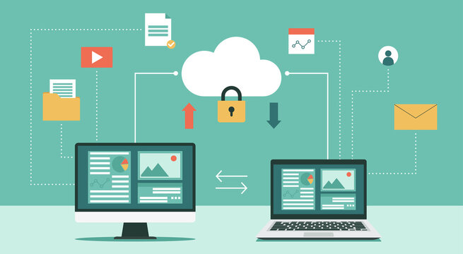 Cloud computing security and protecting data concept with computer and laptop, Online devices upload, download information, data in database on cloud services, vector flat illustration