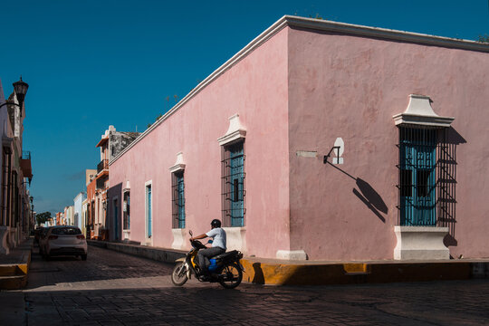 A motorcycle driver on the empty street of Mexico, Campeche