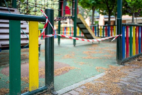 Park Closed During The Coronavirus Covid-19 Lockdown.