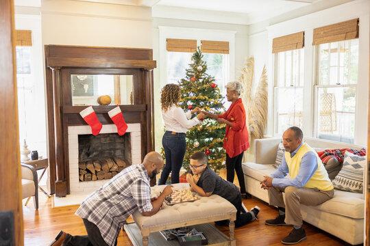 Black family gathered together for Christmas holiday