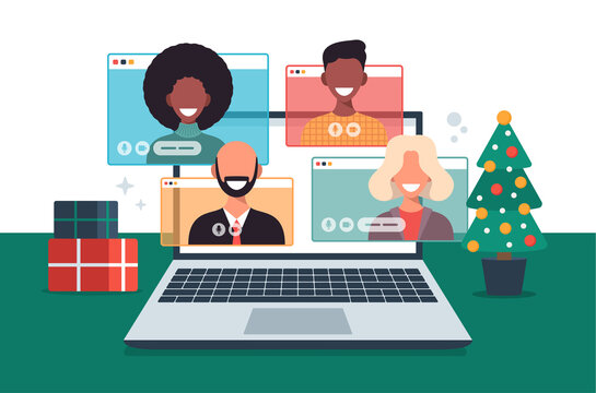 Christmas online greeting. people meeting online together with family or friends video calling on laptop virtual discussion. Merry and Safe Christmas office desk workplace, flat vector illustration