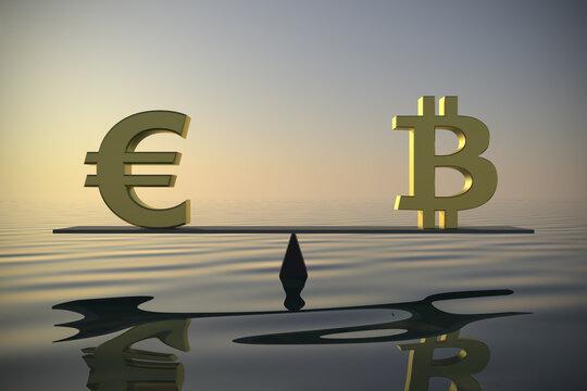 Exchange rate between Euro and Bitcoin 3d rendering.