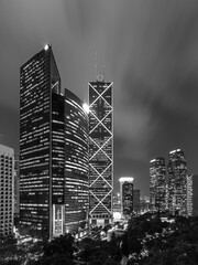 Fototapete - Skyline of downtown district of Hong Kong city at night