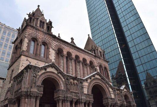 Boston Street View Trinity Church and Its Modern Tall Neighbor Building the John Hancock Tower