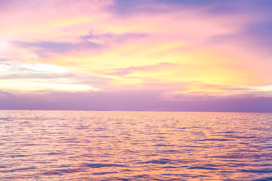 Pastel Sunset sky. Natural color over the sea.