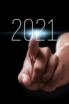 Happy new year 2021 with hand.