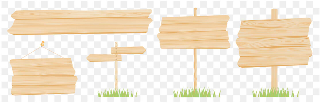 Set of wooden board illustration