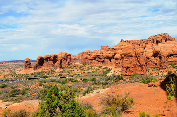Beautiful scenery of the famous Arches National Park, Utah, USA