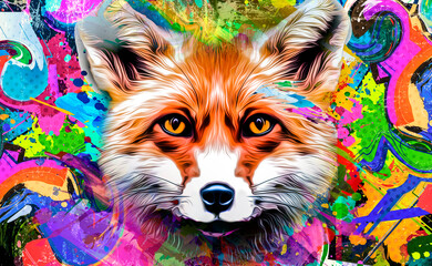 Fox's head illustration on background with colorful creative elements