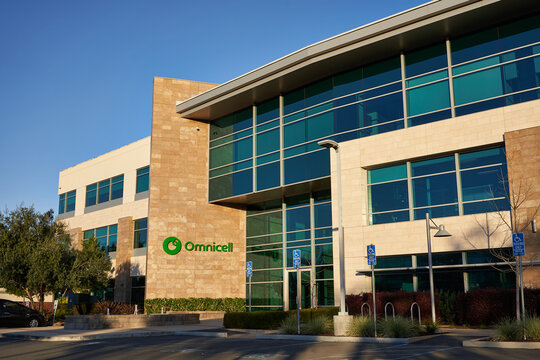 Mountain View, CA, USA - Feb 25, 2020: Omnicell Headquarters exterior. Omnicell provides an integrated suite of clinical infrastructure and workflow automation solutions for healthcare facilities.