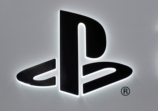 The logo of Sony PlayStation is displayed at the consumer electronics retailer chain Bic Camera in Tokyo
