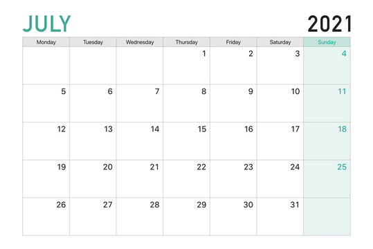 2021 July illustration vector desk calendar weeks start on Monday in light green and white theme
