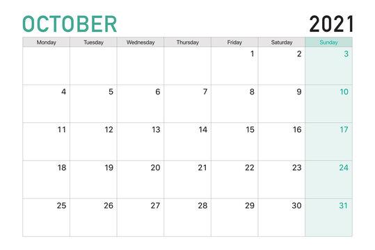 2021 October illustration vector desk calendar weeks start on Monday in light green and white theme