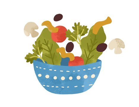 Salad bowl with vegetables and greens isolated on white background. Flat vector cartoon illustration of fresh and healthy vegan lunch meal. Organic vegetarian nutrition