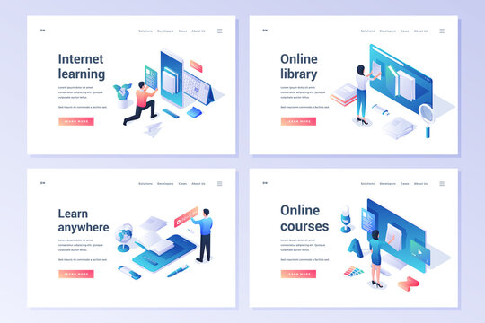 Set of modern banners offering online study resources