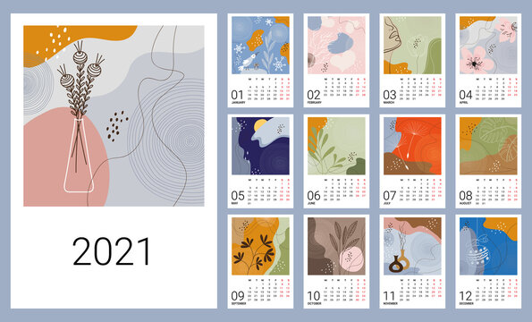 Calendar template for 2021. Vertical design with abstract natural patterns. Editable vector illustration, set of 12 months with cover. Week starts on Monday.