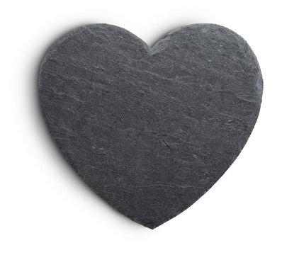 Slate rock heart on white