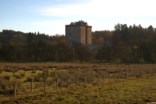 Borthwick castle and countryside in autumn, midlothian