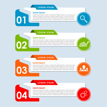 Modern and creative Business Infographic template with 4 elements and shapes, Modern Timeline diagram, Business data visualization. Process chart. Abstract elements of graph. vector illustration