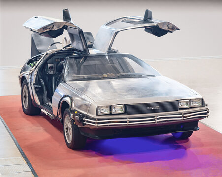 """BARCELONA, SPAIN-APRIL 29, 2020: DMC-12 DeLorean fully restored """"Hero A"""" car from the Back to the Future trilogy"""