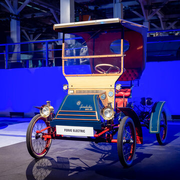 BARCELONA, SPAIN-MAY 11, 2019: 1967 Fervelectric Coche Electrico Espanol at the 100 years of the Automobile Exhibition