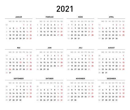 Kalendervorlage 2021, einfach, Querformat, Feiertage Deutschland