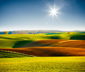 Wall Mural - Attractive sunlight on the wavy fields of agricultural area. Location place of South Moravia region, Czech Republic, Europe.
