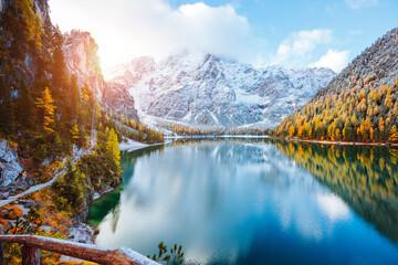 Wall Mural - Perfect scenery of famous alpine lake Braies (Pragser Wildsee). Location Dolomiti Alps, Italy, Europe.