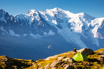 Wall Mural - Panorama of snowy peaks on a sunny day. Location place Mont Blanc glacier, Chamonix resort, France, Europe.