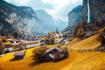 Wall Mural - Exotic view of alpine valley of Lauterbrunnen. Location place Swiss alp, Europe.