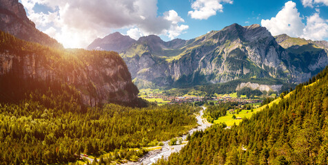 Wall Mural - Scenic surroundings near the glacial lake Oeschinensee. Location place Swiss alps, Kandersteg, Europe.