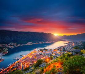 Wall Mural - Majestic view of of Kotor bay (Boka Kotorska). Location place Kotor city, Montenegro, Europe.