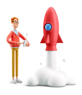 3d illustration. Nerd Larry launches a rocket. Innovation and Startup Concept.