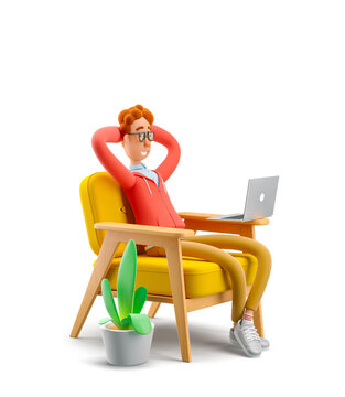 3d illustration. Nerd Larry sits is resting in a chair and watching a video on a laptop.