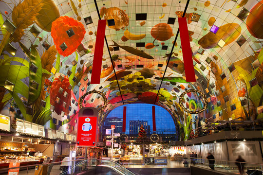 Calm market hall or Markthal interior due to corona pandemic in Rotterdam in the Netherlands
