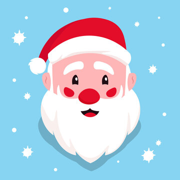 The head of Santa Claus. Spirit of Christmas. Perfect for christmas holiday greetings and invitations. Vector illustration.