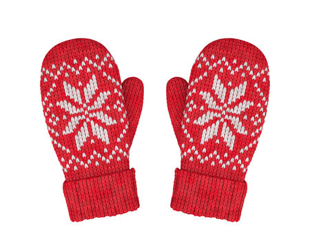 Red wool mittens with isolated pattern on white background, 3D render