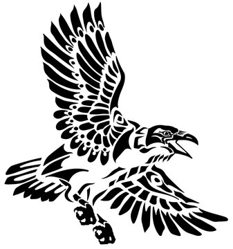A raven in flight. Flying large bird. Hand drawn crow.  American native indians totem style vector illustration. Black and white tattoo
