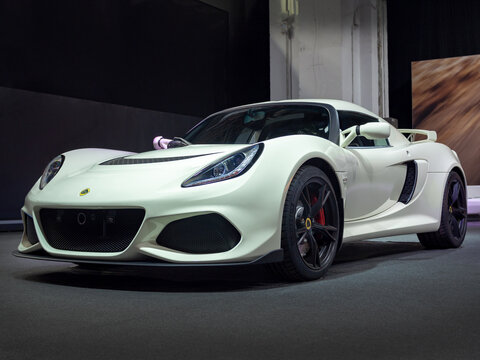 BARCELONA, SPAIN-MAY 11, 2019: Lotus Exige Sport 350 at the 100 years of the Automobile Exhibition