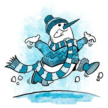 Snowman skipping along