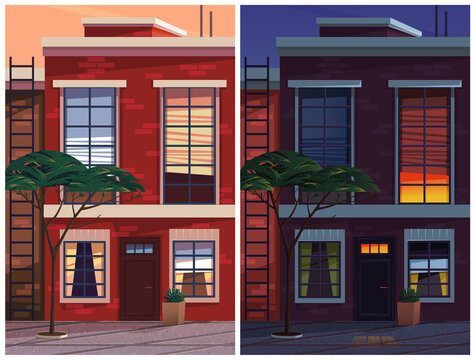 City house vintage facade with entrance door and part of a brick wall with windows vector illustration. Two-story historic building, pavement with plants, evening and night lighting vector scenes set