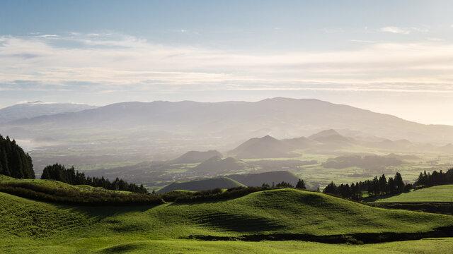 Mountain landscape at sunrise in Sao Miguel Island, Azores, Portugal.
